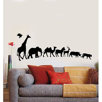 Vinyl Wall Decal Wild Animals Giraffe Elephant Camel Zebra Rhinoceros Stickers Mural (g2726)