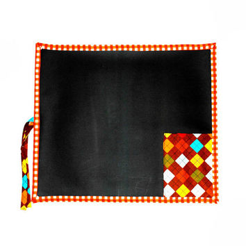 Orange Gingham Chalkboard Placemat // Quiet Activity // Travel Chalkboard Toy