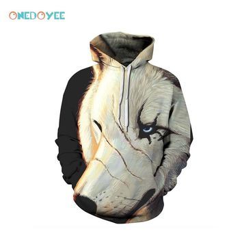 Onedoyee Autumn and Winter Scar Wolf 3D Printing Hoodie with Cap Long Sleeved Pullover Sweatshirts Skateboard Hoodies Sportswear