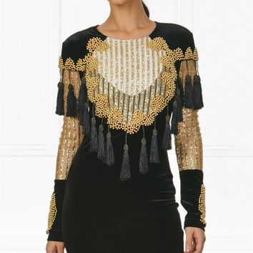 Indie XO Boldest Charm Beaded Black Gold Sheer Tassel Fringed Cut Out Striped Velvet Mock Neck Bodycon Mini Dress