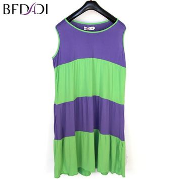 BFDADI Summer Women Sleepwears o-Neck Sleeveless Nightgowns Loose Sleep Dress Casual Nightwear Fashion 3 Color Large Size XL-4XL