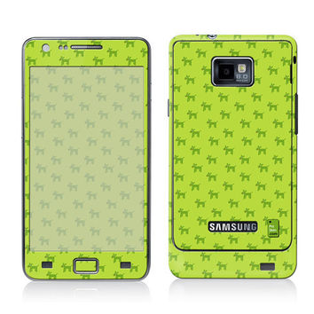 Galaxy Decal, Samsung Cover, Galaxy S2 i9100 Case Skin, PLUS Matching Wallpaper - Dogs Green - Trendy Cute Dog Pattern Lime Women Teen