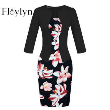 FLOYLYN One-piece Faux Jacket Brief Elegant Patterns Work Dress Office Bodycon Female 3/4 or Full Sleeve Sheath Dress