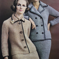 Crochet blazer double breasted suit set skirt jacket Vintage pattern PDF Instant Download 70s knitted supplies epsteam knitting pattern