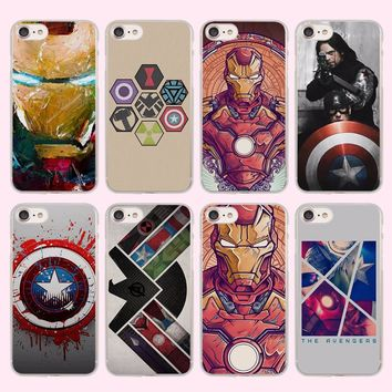 the avengers ironman captain america Style Thin clear phone shell case for Apple iPhone SE 5 5s 7 7Plus 6 6s Plus