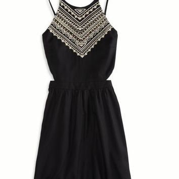 AEO Women's Embroidered Halter Sundress (Black)
