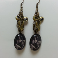 Vintage Horror Glass Pendant Earrings - Victorian, Goth, Creepy, Glass Dome, Skeleton, Skull, Spooky, Antique Bronze