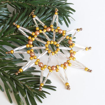 ten point beaded star ornament, tree ornament or gift tag in gold and silver, seed bead Christmas decoration