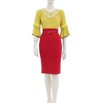 Solid High Waist Fitted Belted Knee Length Midi Skirts Size S-XL BE3087