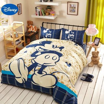 Blue Disney Cartoon Mickey Mouse 3D Printing Bedding Set for Kids Bedroom Decor Cotton Bed Sheets Duvet Cover Single Twin Queen