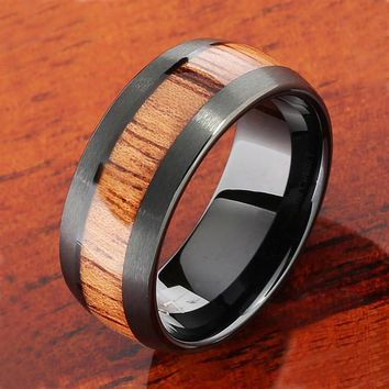 Black Tungsten Natural Hawaiian Koa Wood Inlaid Mens Wedding Ring Barrel 8mm Hawaiian Ring Day-First™