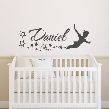 Name Wall Decal Boys- Peter Pan Wall Decal for Kids- Personalized Boy Name Decal- Peter Pan Personalized Name Custom Wall Decals Nursery 147