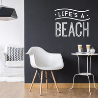 Life's a Beach Wall Decal, Typography Wall Sticker, Kids Sticker, Typography Decal, Nursery Decal, Office Decor, Bedroom Wall Decal
