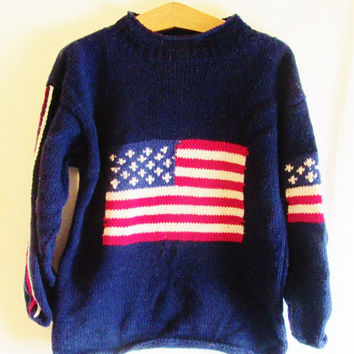 Vintage Hand Knit Slouchy American Flag Sweater