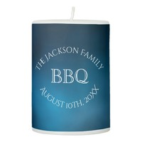 BBQ party a blue evening and night Pillar Candle