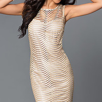 Short Sleeveless Sequin Mesh Dress 262350i by Jump