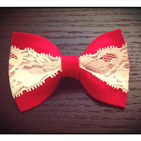 Bright Red Colored Hair Bow Ribbon with Lace Perfect for Valentine's Day
