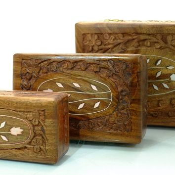 Carved Wooden Boxes with shell inlay