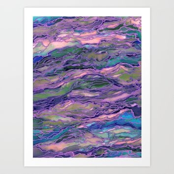 MARBLE IDEA! LAVENDER PINK PEACH Abstract Watercolor Painting Colorful Geological Nature Marbled Art Art Print by EbiEmporium