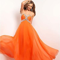 Orange Rhinestone Embellished Chiffon Strapless Sweetheart Empire Waist Prom Gown - Unique Vintage - Prom dresses, retro dresses, retro swimsuits.