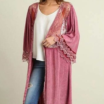 Think Of Me Mauve Pink Lace Midi Duster Cardigan