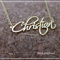 Font 1 // Beautiful Personalized Name Necklace Gift box included. 925 sterling silver - pink gold- white gold-yellow gold plated.// SALE //