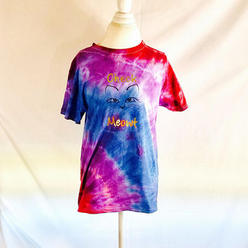 Crazy Cat Lady Tie Dye, Festival Shirt, Swimsuit Cover Up, Workout Shirt, Psychedelic Shirt, Check Meowt Shirt, Graduation Gift, Group Gifts