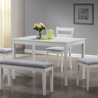 Dining Set - 5 Piece Set - White Bench And 3 Side Chairs