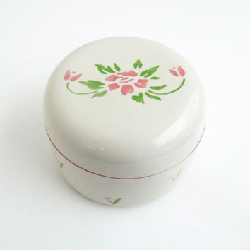 Vintage white round jewelry box trinket box - Teleflora porcelain / ceramic box with floral flowers - Made in Japan (Ready to ship)