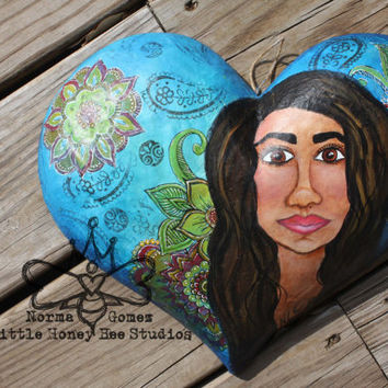 Namaste - Original Hand Painted Mixed Media Paper Mache Heart