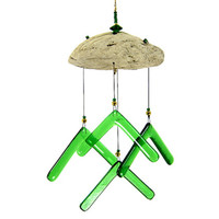 Green Glass Wind Chime with Driftwood, Green Windchime