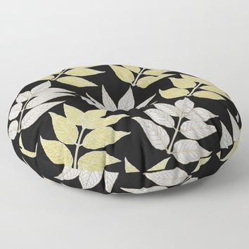 Silver & Gold Leaves On Black Floor Pillow by inspiredimages
