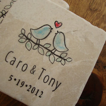 Love Birds Personalized Coaster Set of Four - Wedding or Anniversary