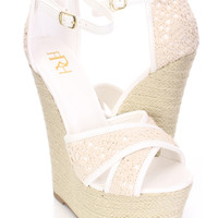 White Cross Strap Espadrille Platform Wedges Crochet
