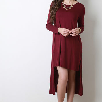 High-Low Long Sleeve T-Shirt Dress