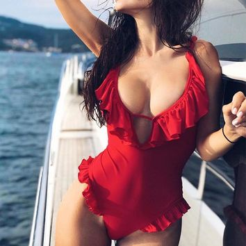 Deep V Bikini Red Swimsuit One-Piece Female Bodysuit Ruffle Swimwear Women Monokini Sexy Bathing Suit New One-Piece Suits