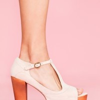 Foxy Platform - Nude Suede in  Shoes Platforms at Nasty Gal