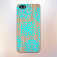 Turquoise Lace Doilies x Wood Design Case for iPhone 6 6 Plus iPhone 5 5s 5c iPhone 4 4s Samsung Galaxy s5 s4 & s3 and Note 4 3 2