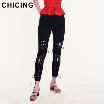 CHICING Fashion Solid Hollow Out Lace-Up Capris Leggings Women 2017 Sexy Trousers Streetwear Bodycon Pencil Pant Bottom B1706023