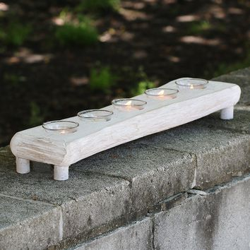 "Natural Driftwood Candle Holder with Glass Votives - 22"" Long"