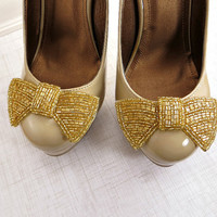 Gold Shoe Clips, Beaded Bow Clips for Shoes, Wedding Shoe Accessories by Flower Couture