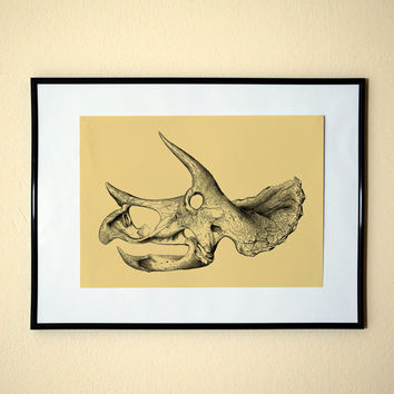 Cute Vintage Triceratops Engraving Pop Style Art Print 8x10 Inches Buy 2 Get 1 Choose From 24 Different Colors
