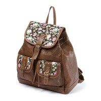 Faux Leather Backpack with Floral Detail | Claire's