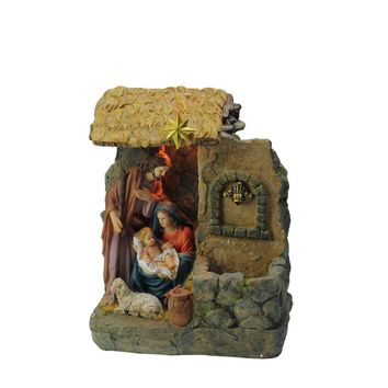 """14"""" Holy Family Religious Nativity Fountain with Lamp Table Top Christmas Decoration"""