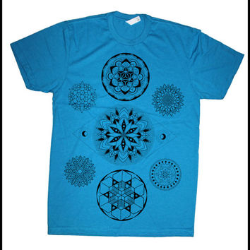 Men's 7 CHAKRAS Mandala Tee Colab Design with Sacred Geometry Tattoo Artist Corey Divine