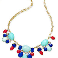 INC International Concepts Necklace, 14k Gold-Plated Multi-Color Cabochon Frontal Necklace - All Fashion Jewelry - Jewelry & Watches - Macy's