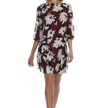 Women's Donna Morgan Print Chiffon Drop Waist Dress,