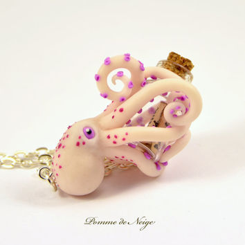NEW! - Octopus Pendant Glowing in the dark Octopus Necklace Polymer clay Jewelry Kraken Pendant OOAK