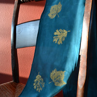 Teal Silk Scarf with Gold Leaves