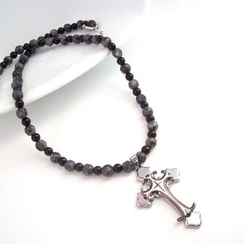 CROSS NECKLACE, Christian Necklace, Silver Cross Pendant and Black and Grey Beads